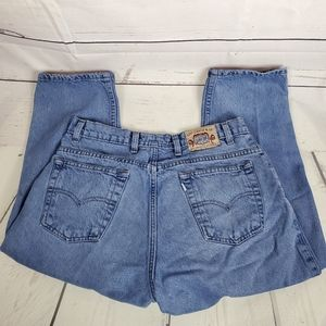 Silver tab high waisted Levis blue jeans med wash